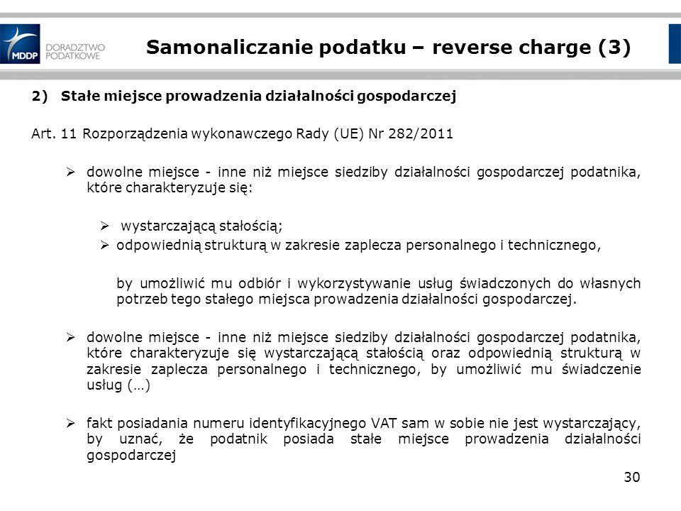 Samonaliczanie podatku – reverse charge (3)