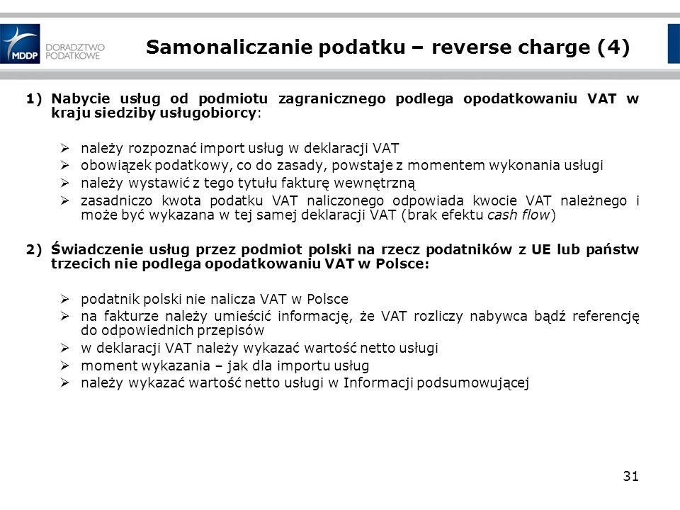 Samonaliczanie podatku – reverse charge (4)