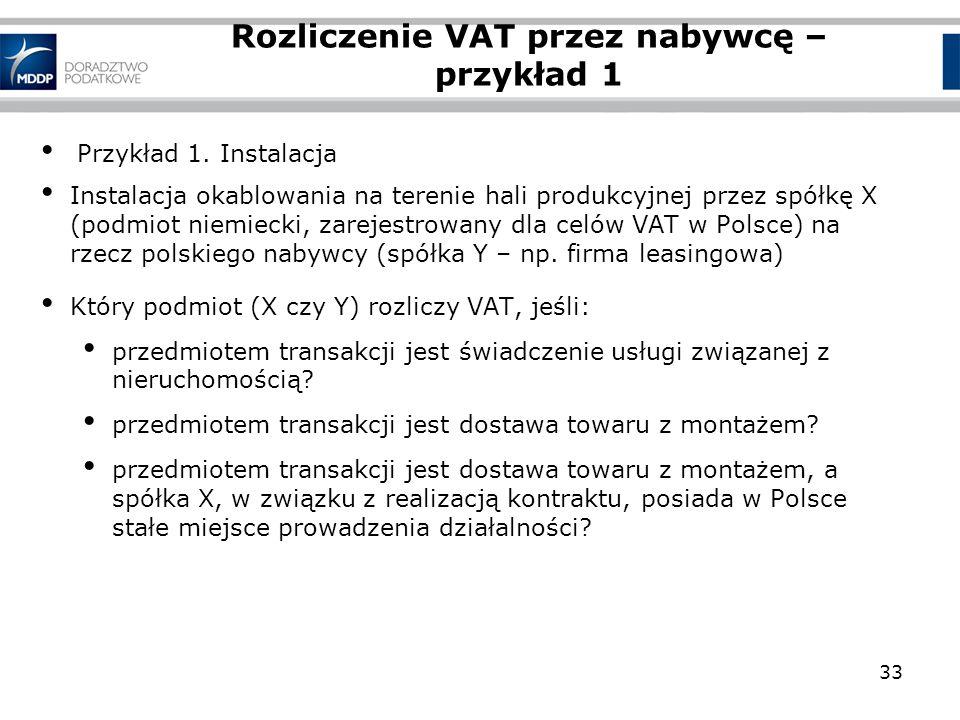 Rozliczenie VAT przez nabywcę – przykład 1