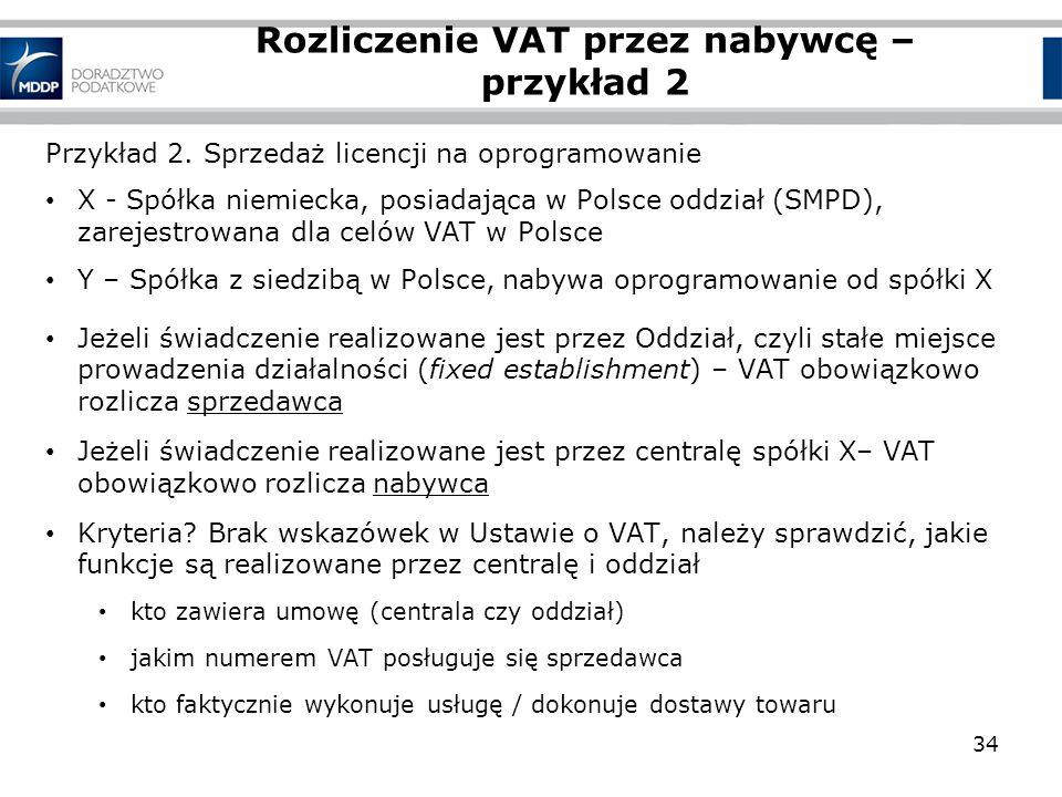 Rozliczenie VAT przez nabywcę – przykład 2