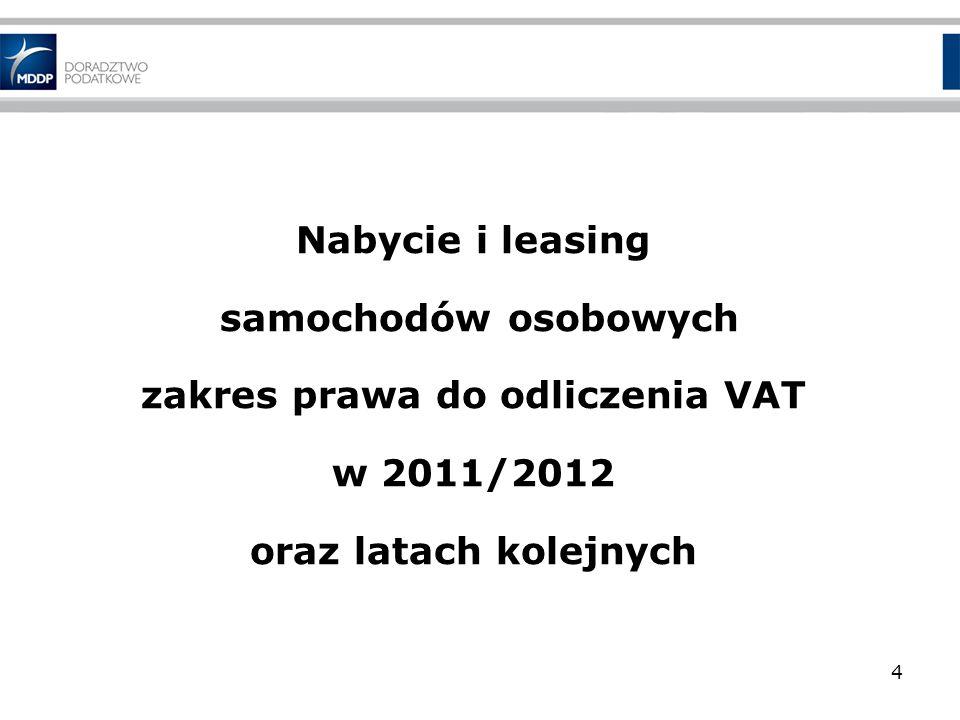 Nabycie i leasing samochodów osobowych zakres prawa do odliczenia VAT w 2011/2012 oraz latach kolejnych