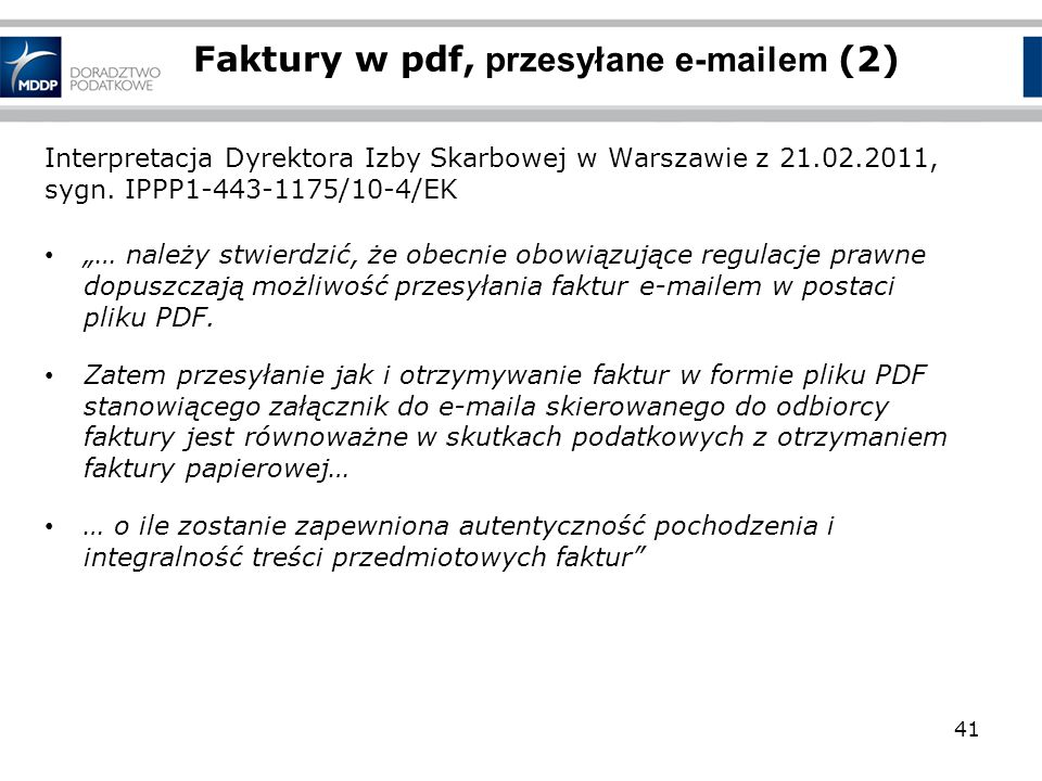 Faktury w pdf, przesyłane e-mailem (2)