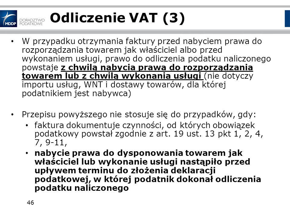 Odliczenie VAT (3)