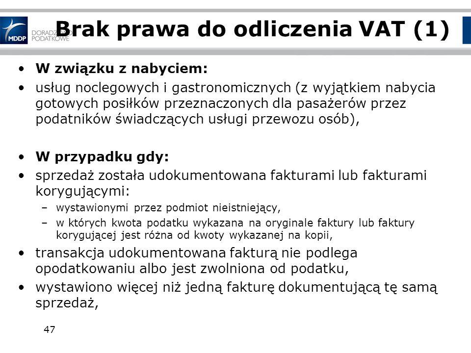 Brak prawa do odliczenia VAT (1)