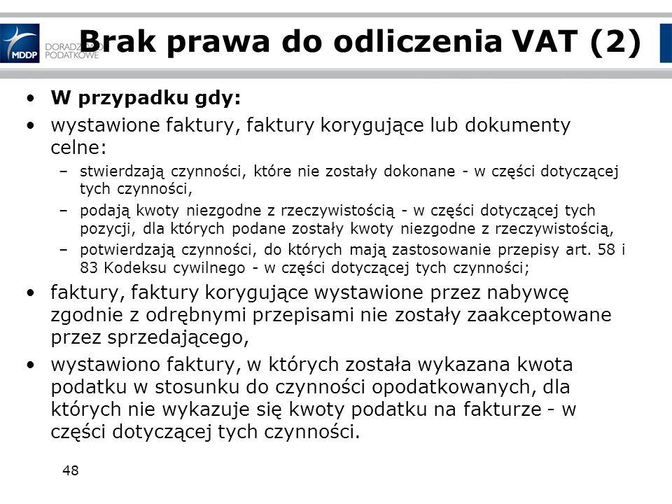 Brak prawa do odliczenia VAT (2)