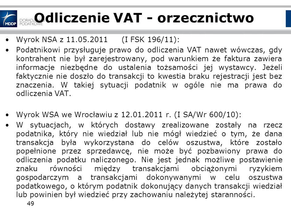 Odliczenie VAT - orzecznictwo