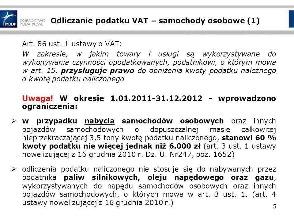Odliczanie podatku VAT – samochody osobowe (1)