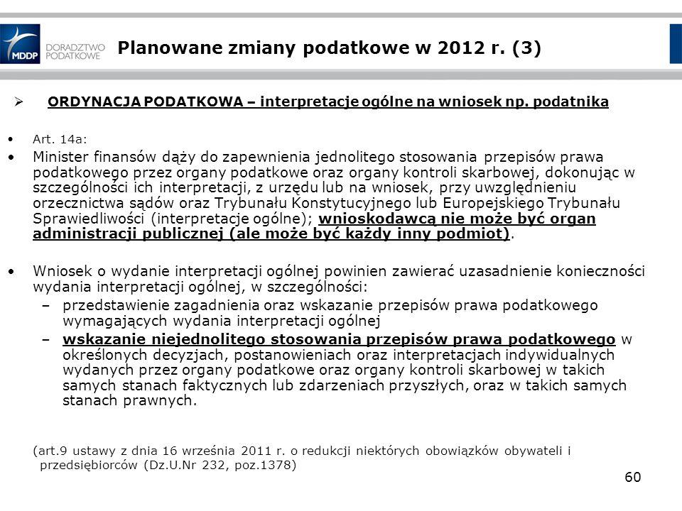 Planowane zmiany podatkowe w 2012 r. (3)