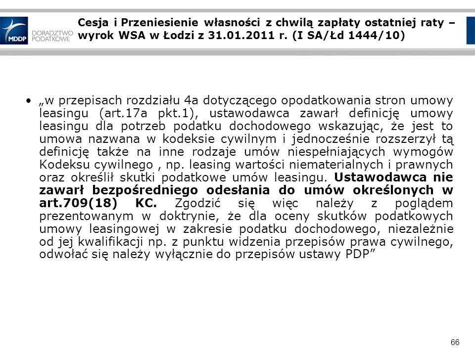 Cesja i Przeniesienie własności z chwilą zapłaty ostatniej raty – wyrok WSA w Łodzi z 31.01.2011 r. (I SA/Łd 1444/10)