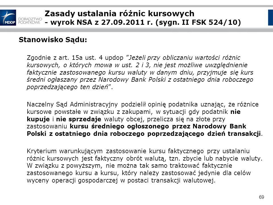 Zasady ustalania różnic kursowych - wyrok NSA z 27. 09. 2011 r. (sygn