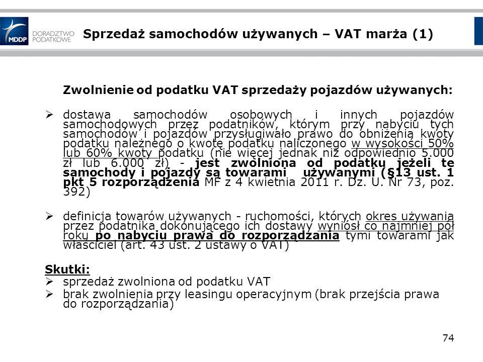 Sprzedaż samochodów używanych – VAT marża (1)