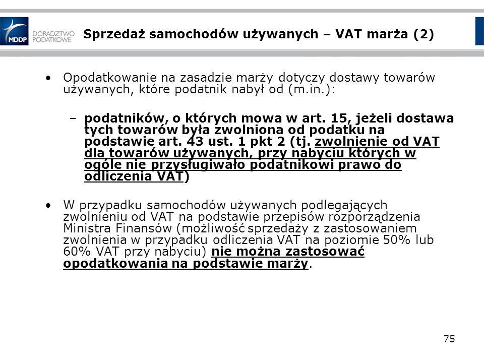 Sprzedaż samochodów używanych – VAT marża (2)