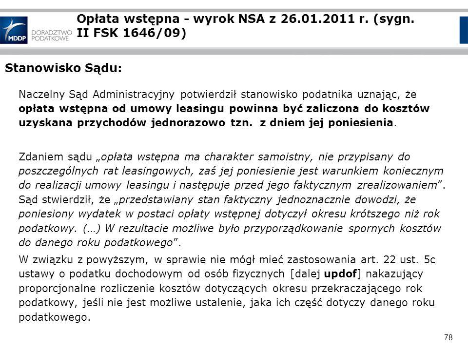 Opłata wstępna - wyrok NSA z 26.01.2011 r. (sygn. II FSK 1646/09)