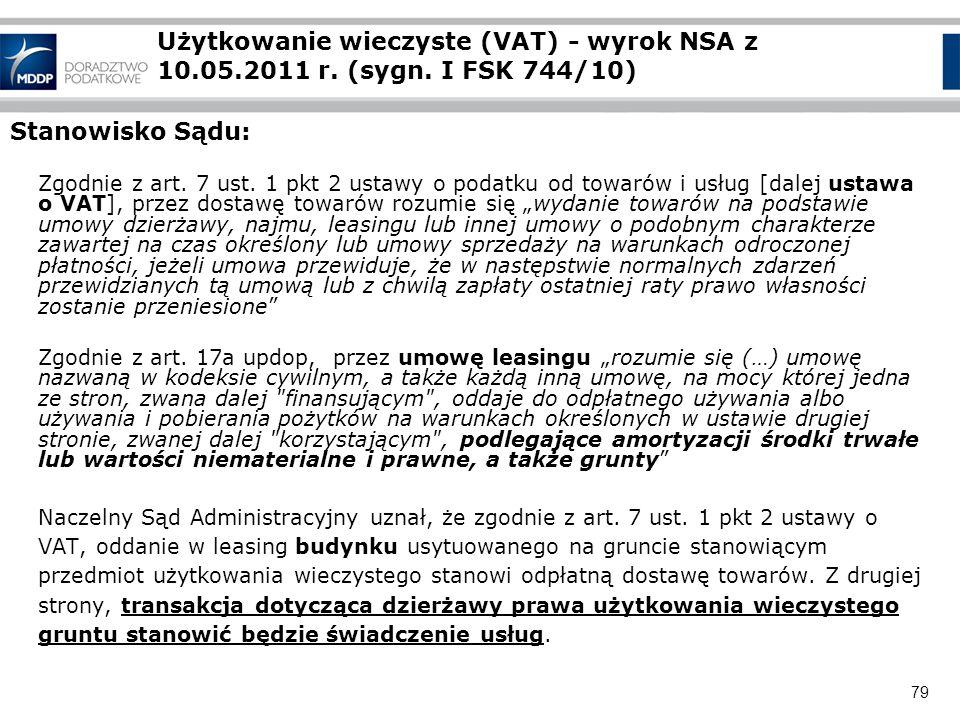 Użytkowanie wieczyste (VAT) - wyrok NSA z 10. 05. 2011 r. (sygn