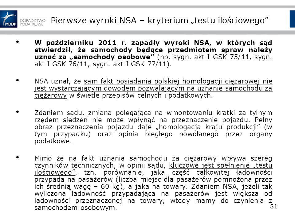 """Pierwsze wyroki NSA – kryterium """"testu ilościowego"""