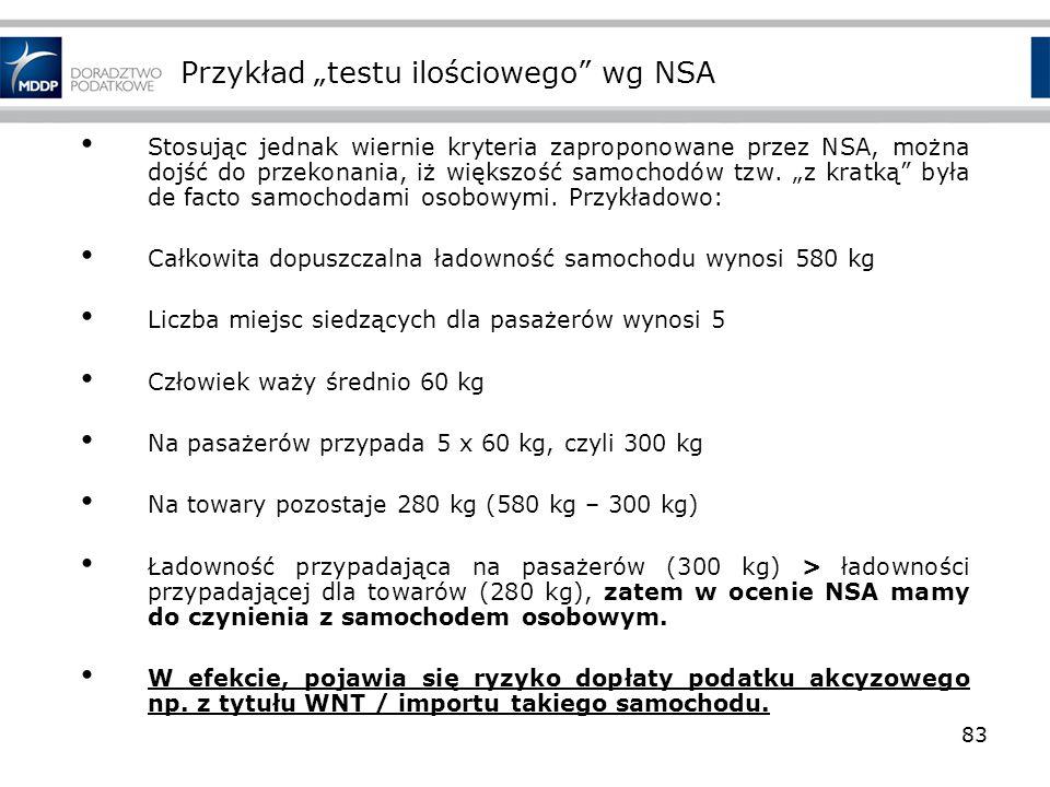 """Przykład """"testu ilościowego wg NSA"""