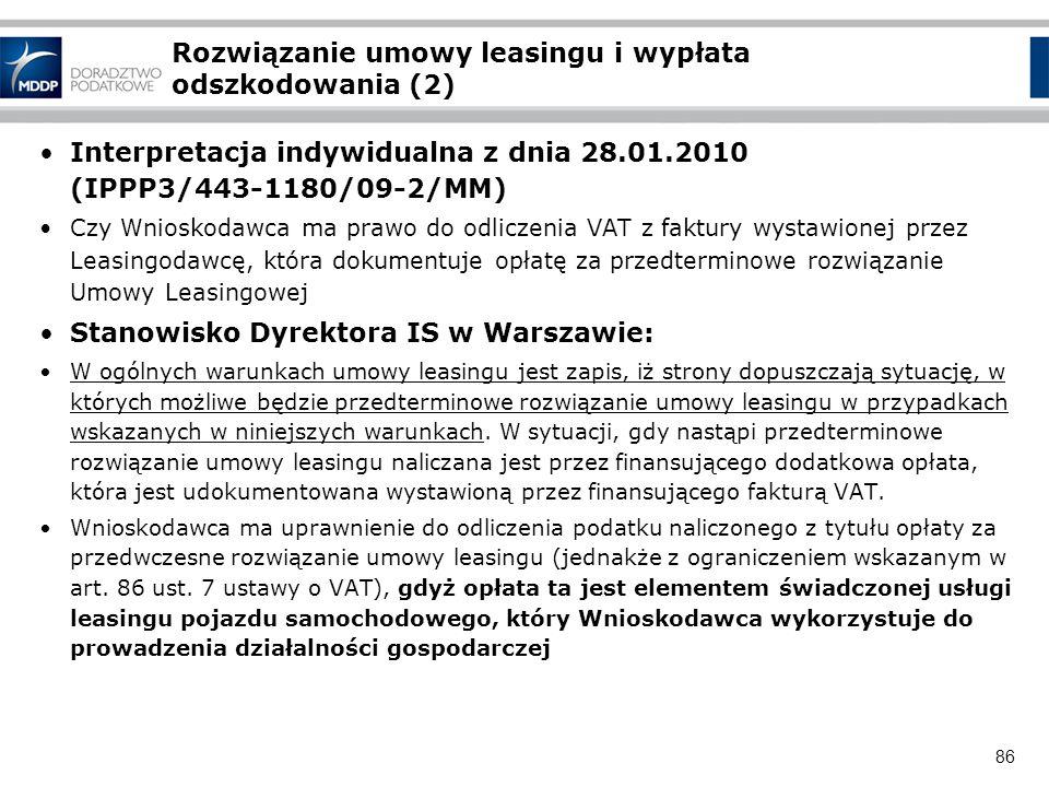 Rozwiązanie umowy leasingu i wypłata odszkodowania (2)