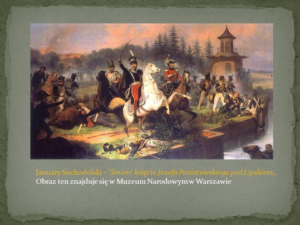 """January Suchodolski - Śmierć księcia Józefa Poniatowskiego pod Lipskiem"""" Obraz ten znajduje się w Muzeum Narodowym w Warszawie"""