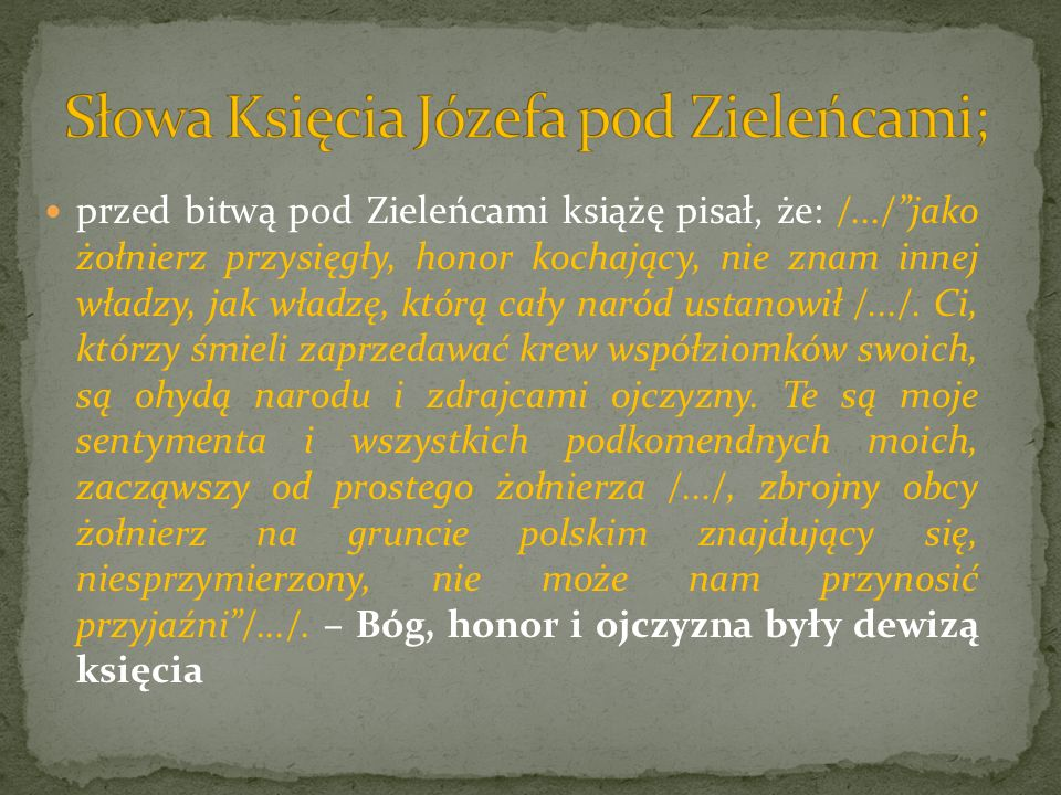 Słowa Księcia Józefa pod Zieleńcami;
