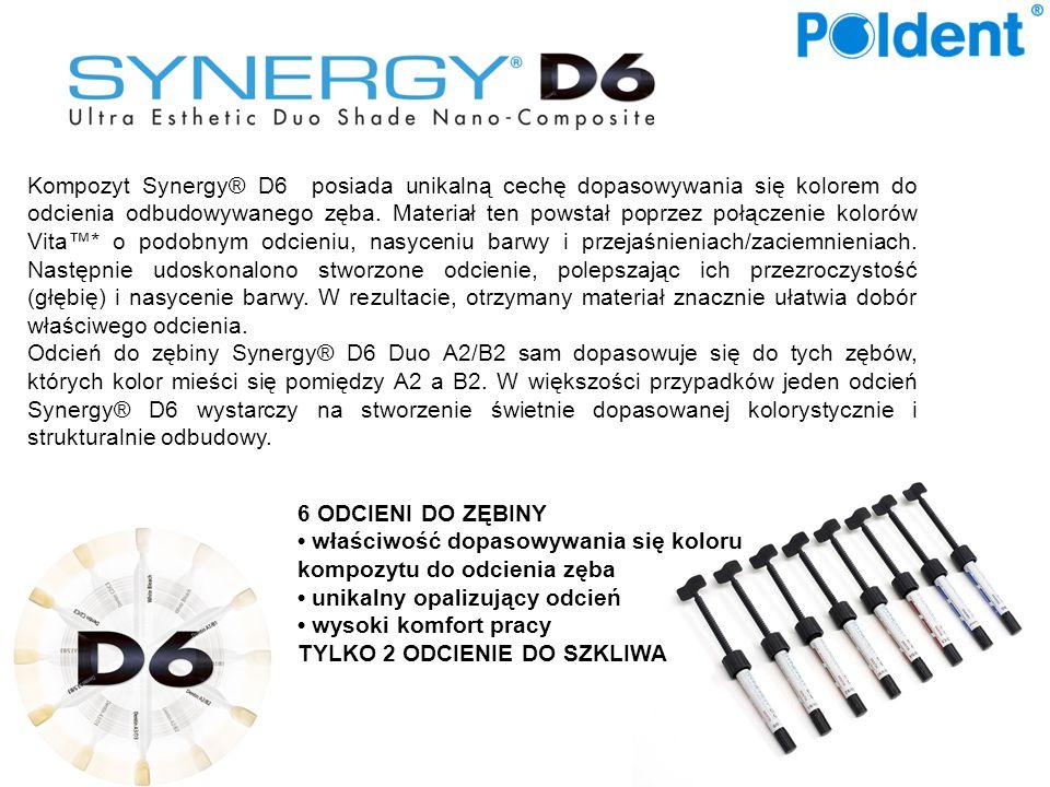 Kompozyt Synergy® D6 posiada unikalną cechę dopasowywania się kolorem do odcienia odbudowywanego zęba. Materiał ten powstał poprzez połączenie kolorów Vita™* o podobnym odcieniu, nasyceniu barwy i przejaśnieniach/zaciemnieniach. Następnie udoskonalono stworzone odcienie, polepszając ich przezroczystość (głębię) i nasycenie barwy. W rezultacie, otrzymany materiał znacznie ułatwia dobór właściwego odcienia.