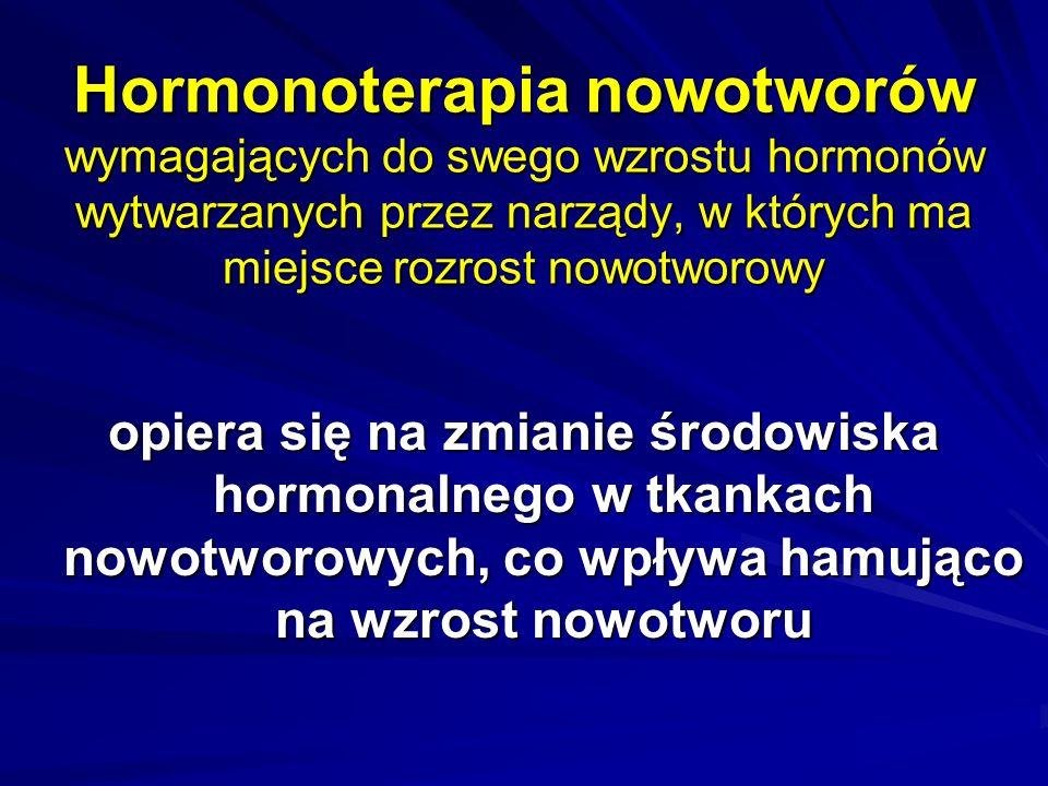 Hormonoterapia nowotworów wymagających do swego wzrostu hormonów wytwarzanych przez narządy, w których ma miejsce rozrost nowotworowy