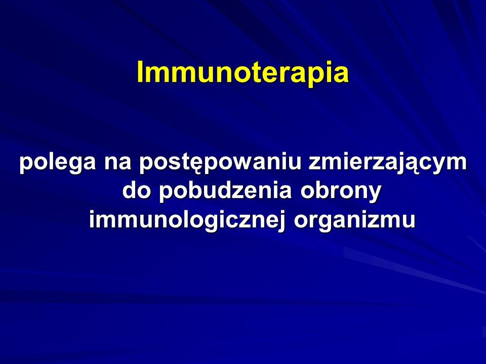 Immunoterapia polega na postępowaniu zmierzającym do pobudzenia obrony immunologicznej organizmu