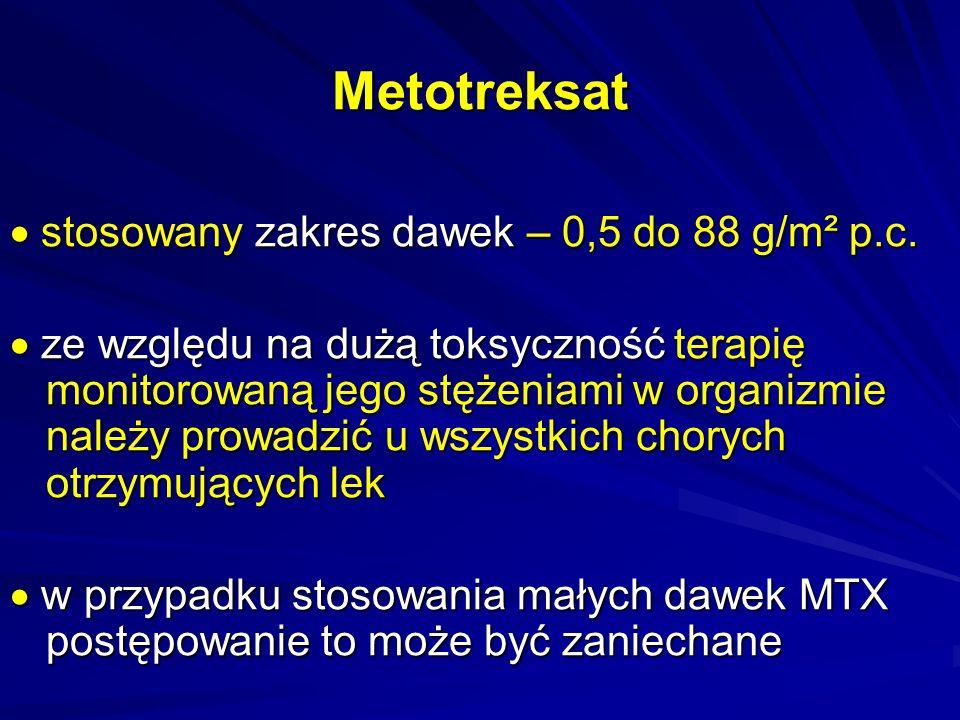 Metotreksat  stosowany zakres dawek – 0,5 do 88 g/m² p.c.
