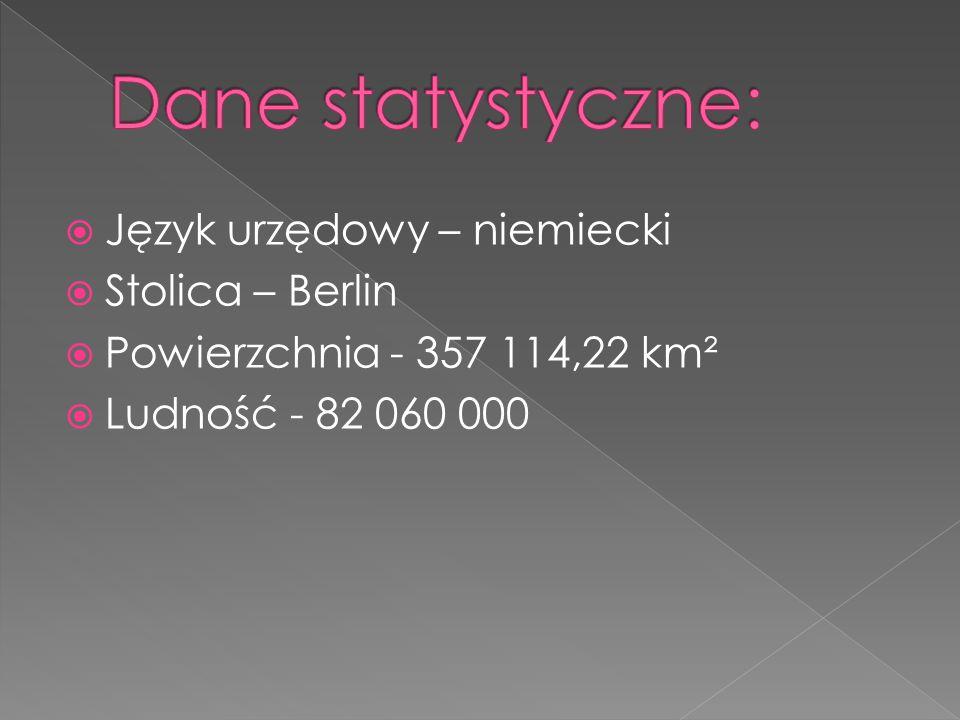 Dane statystyczne: Język urzędowy – niemiecki Stolica – Berlin