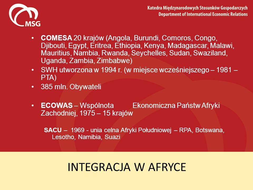 COMESA 20 krajów (Angola, Burundi, Comoros, Congo, Djibouti, Egypt, Eritrea, Ethiopia, Kenya, Madagascar, Malawi, Mauritius, Nambia, Rwanda, Seychelles, Sudan, Swaziland, Uganda, Zambia, Zimbabwe)
