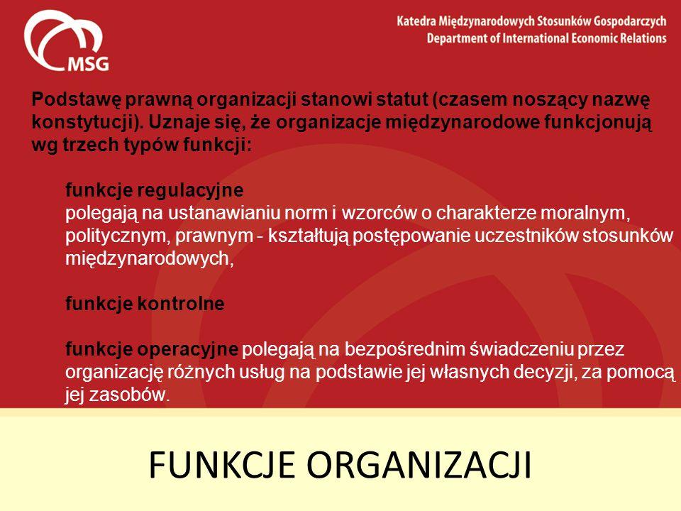 Podstawę prawną organizacji stanowi statut (czasem noszący nazwę konstytucji). Uznaje się, że organizacje międzynarodowe funkcjonują wg trzech typów funkcji: