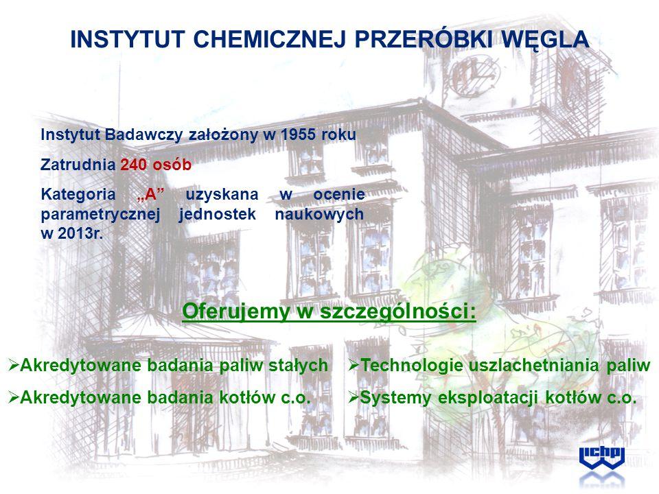 INSTYTUT CHEMICZNEJ PRZERÓBKI WĘGLA Oferujemy w szczególności: