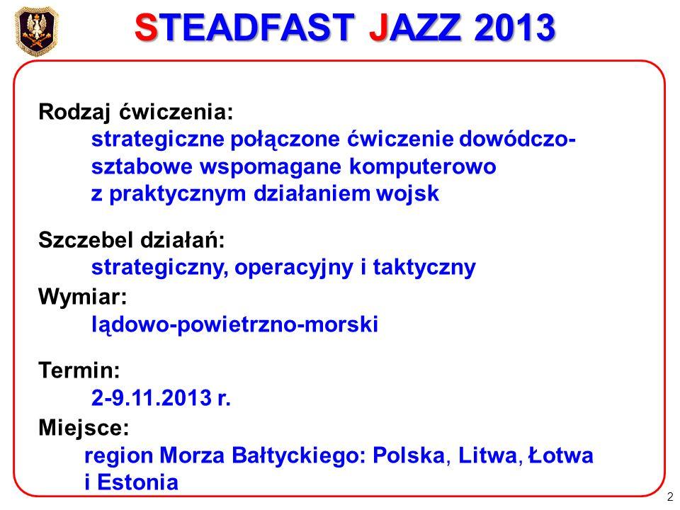 STEADFAST JAZZ 2013 Rodzaj ćwiczenia: strategiczne połączone ćwiczenie dowódczo- sztabowe wspomagane komputerowo z praktycznym działaniem wojsk.