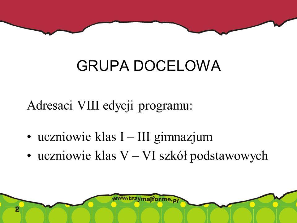 GRUPA DOCELOWA Adresaci VIII edycji programu: