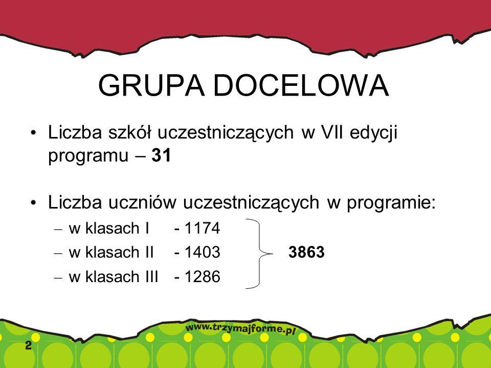GRUPA DOCELOWA Liczba szkół uczestniczących w VII edycji programu – 31
