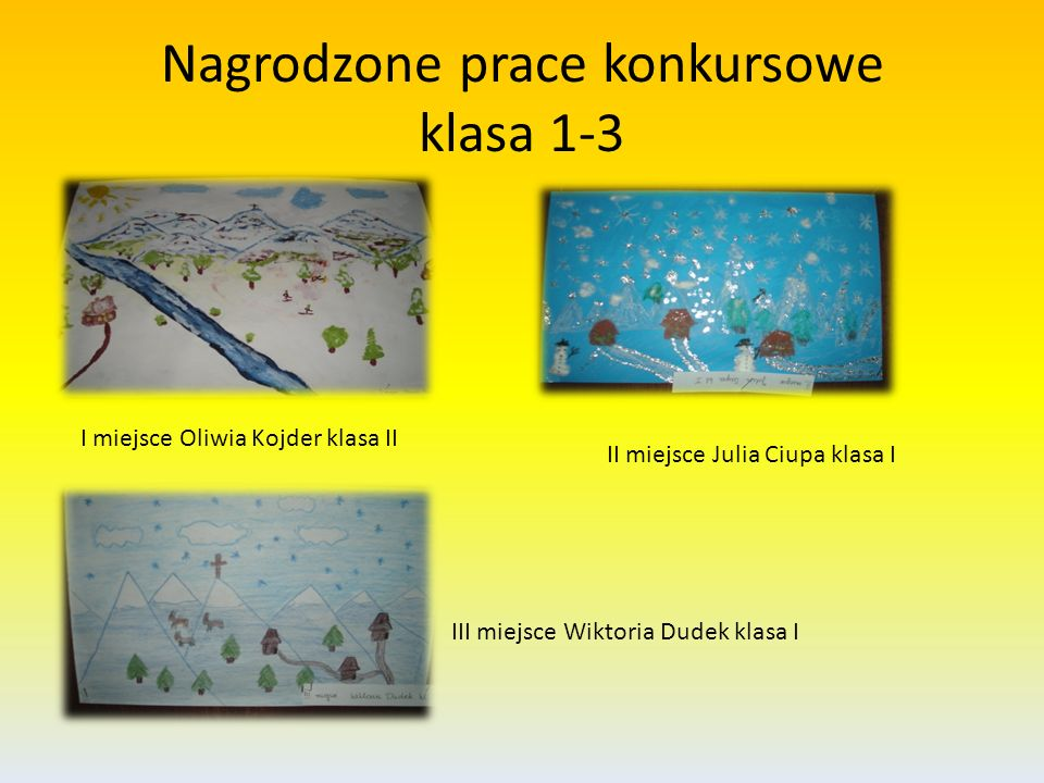 Nagrodzone prace konkursowe klasa 1-3