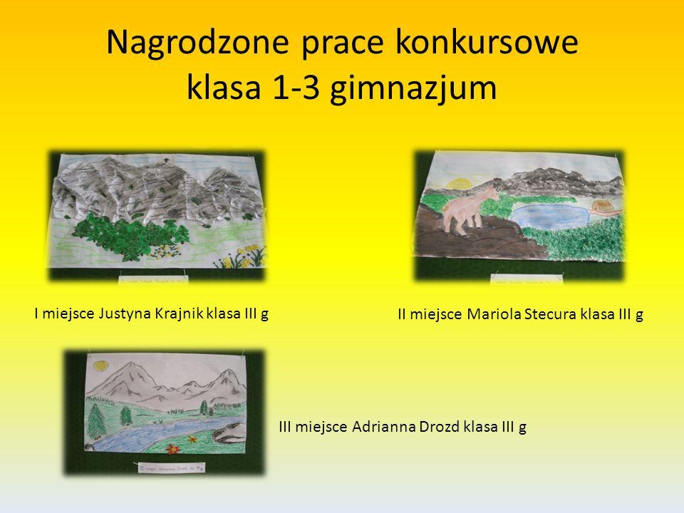 Nagrodzone prace konkursowe klasa 1-3 gimnazjum