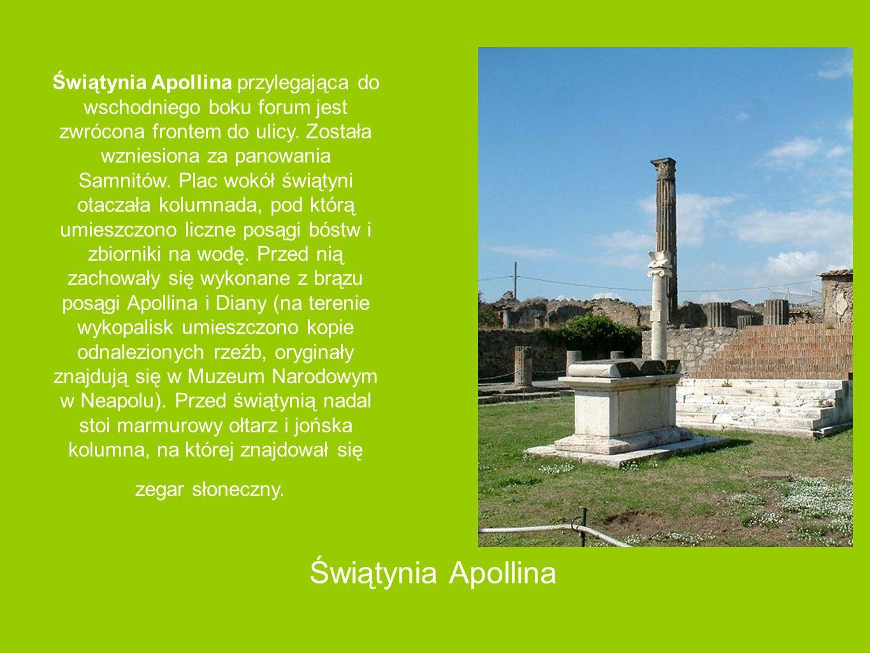 Świątynia Apollina przylegająca do wschodniego boku forum jest zwrócona frontem do ulicy. Została wzniesiona za panowania Samnitów. Plac wokół świątyni otaczała kolumnada, pod którą umieszczono liczne posągi bóstw i zbiorniki na wodę. Przed nią zachowały się wykonane z brązu posągi Apollina i Diany (na terenie wykopalisk umieszczono kopie odnalezionych rzeźb, oryginały znajdują się w Muzeum Narodowym w Neapolu). Przed świątynią nadal stoi marmurowy ołtarz i jońska kolumna, na której znajdował się zegar słoneczny.