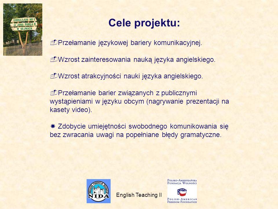 Cele projektu: Przełamanie językowej bariery komunikacyjnej.