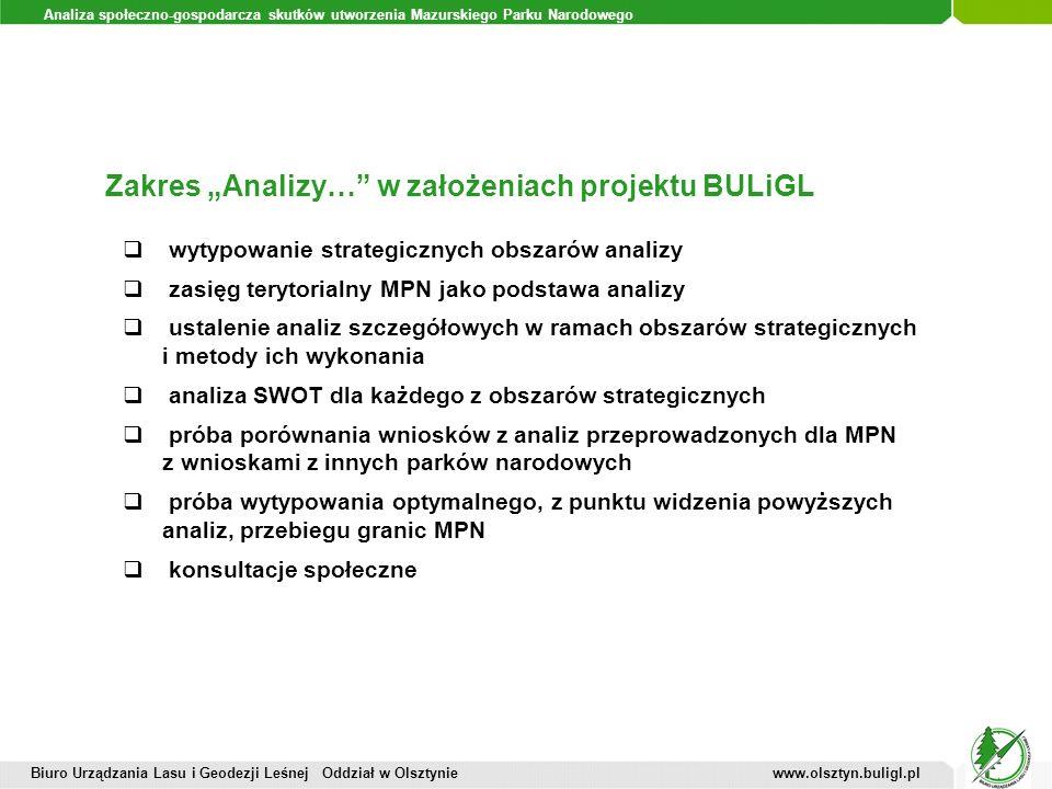 """Zakres """"Analizy… w założeniach projektu BULiGL"""