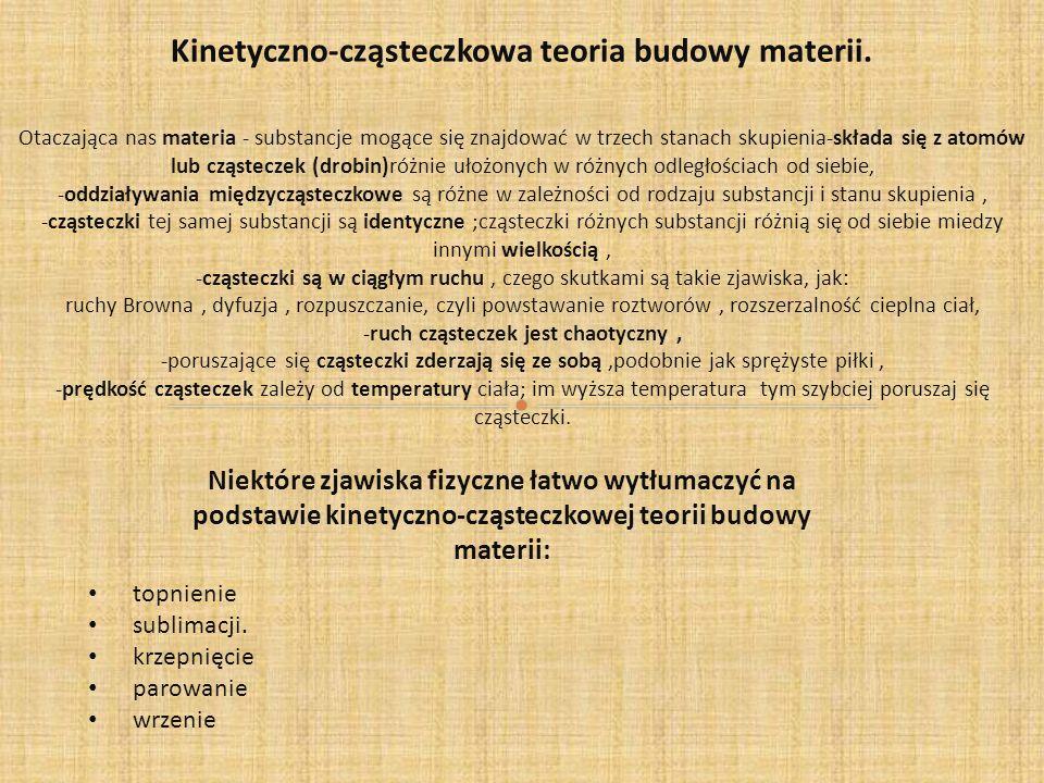 Kinetyczno-cząsteczkowa teoria budowy materii.