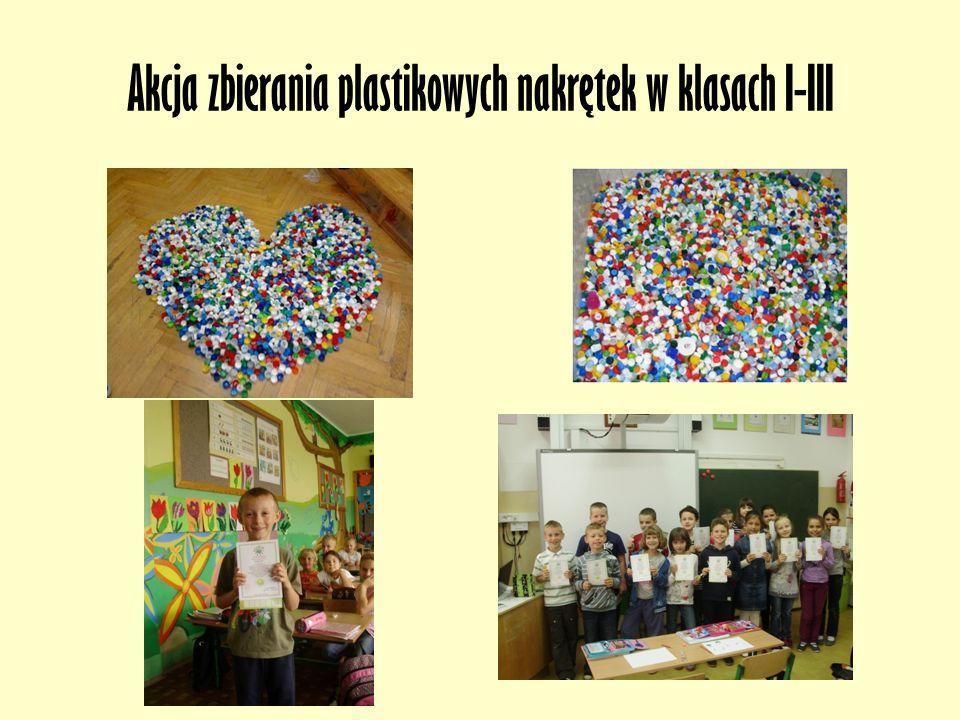 Akcja zbierania plastikowych nakrętek w klasach I-III