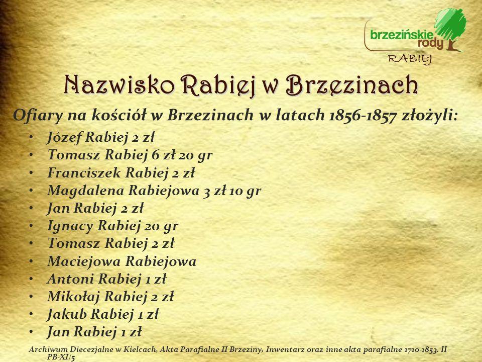 Ofiary na kościół w Brzezinach w latach 1856-1857 złożyli: