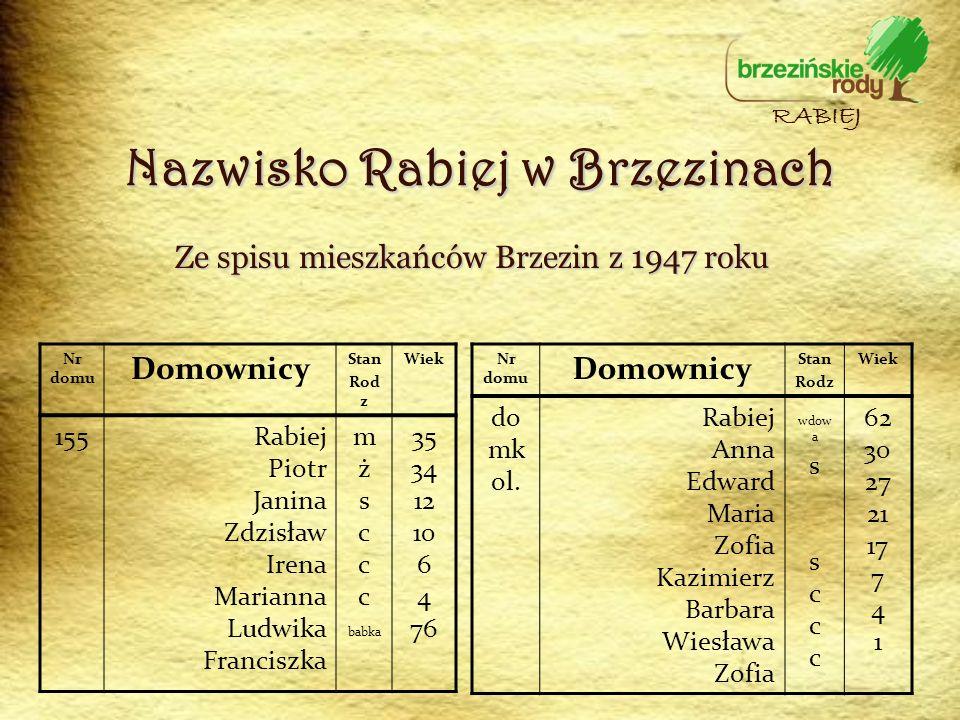 Nazwisko Rabiej w Brzezinach