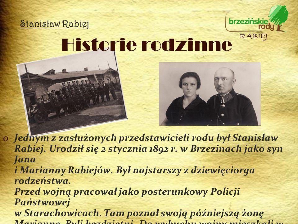 Stanisław Rabiej Historie rodzinne. RABIEJ.