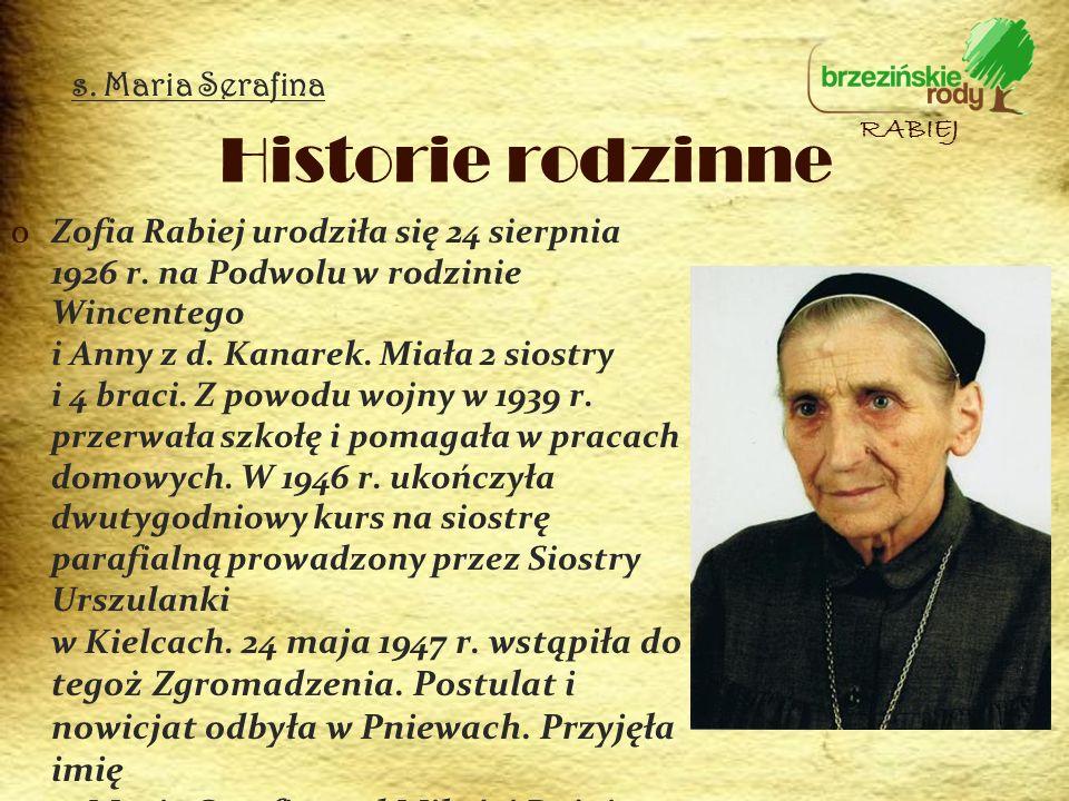 Historie rodzinne s. Maria Serafina