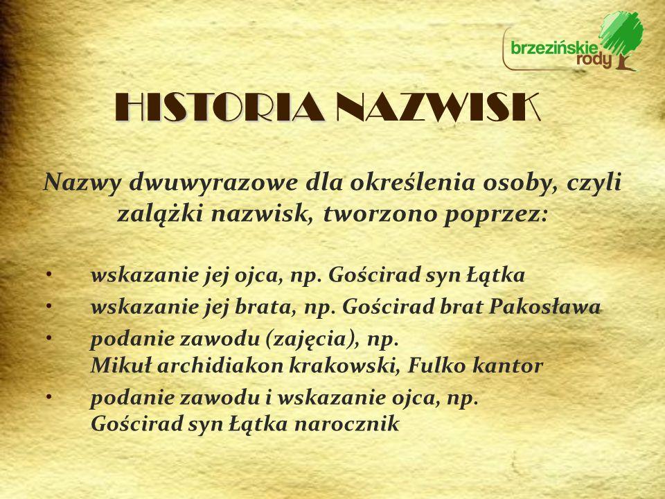 HISTORIA NAZWISK Nazwy dwuwyrazowe dla określenia osoby, czyli zalążki nazwisk, tworzono poprzez: wskazanie jej ojca, np. Gościrad syn Łątka.