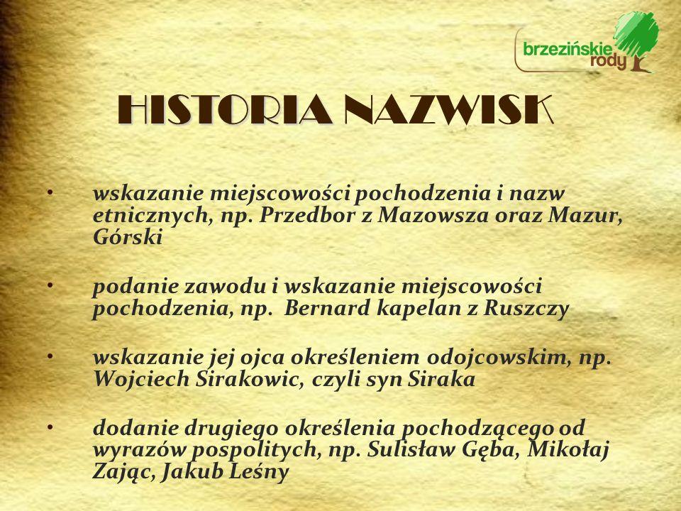 HISTORIA NAZWISK wskazanie miejscowości pochodzenia i nazw etnicznych, np. Przedbor z Mazowsza oraz Mazur, Górski.