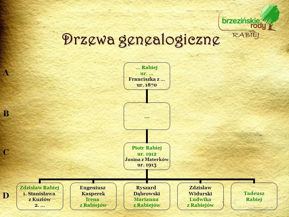 Drzewa genealogiczne RABIEJ A B C D