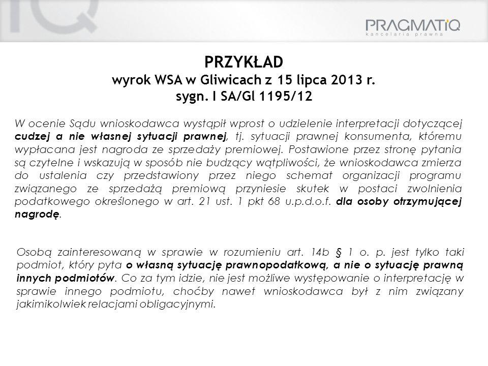wyrok WSA w Gliwicach z 15 lipca 2013 r.