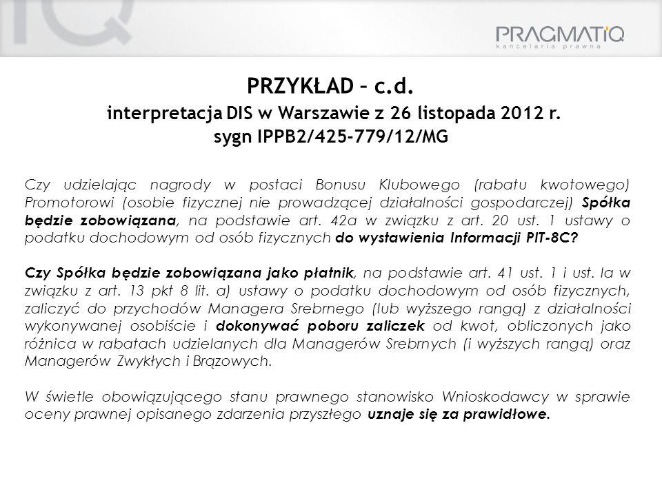 interpretacja DIS w Warszawie z 26 listopada 2012 r.
